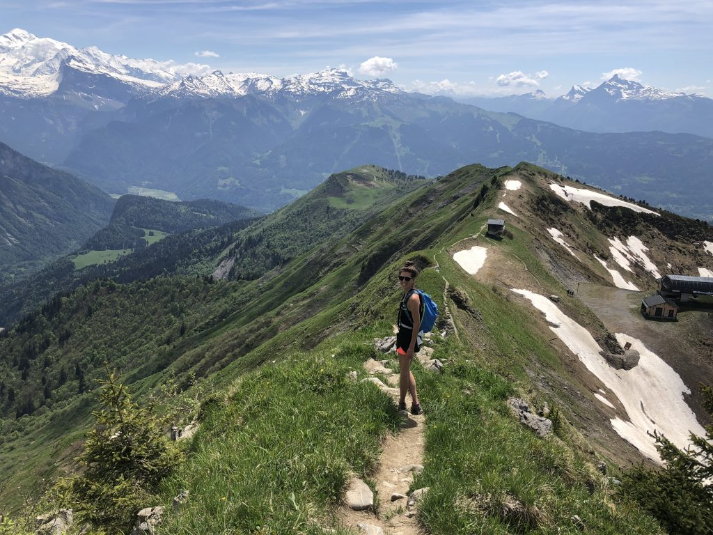 Hiking in Les Gets with Views of the mountains and Mont Blanc.