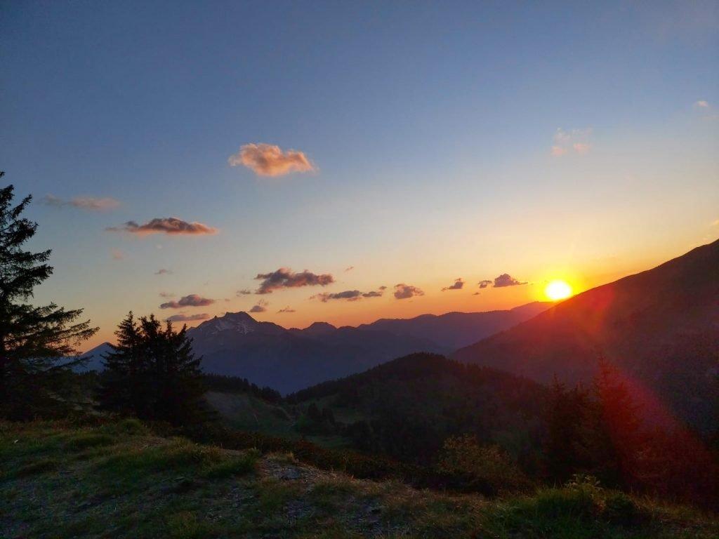 sunset at super morzine. mountain sunset in spring