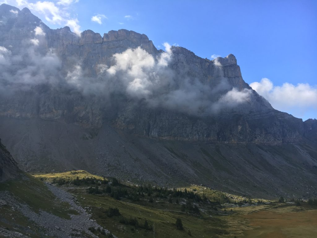 GR5 hiking trail through Sixt fer a Cheval. Big Mountains