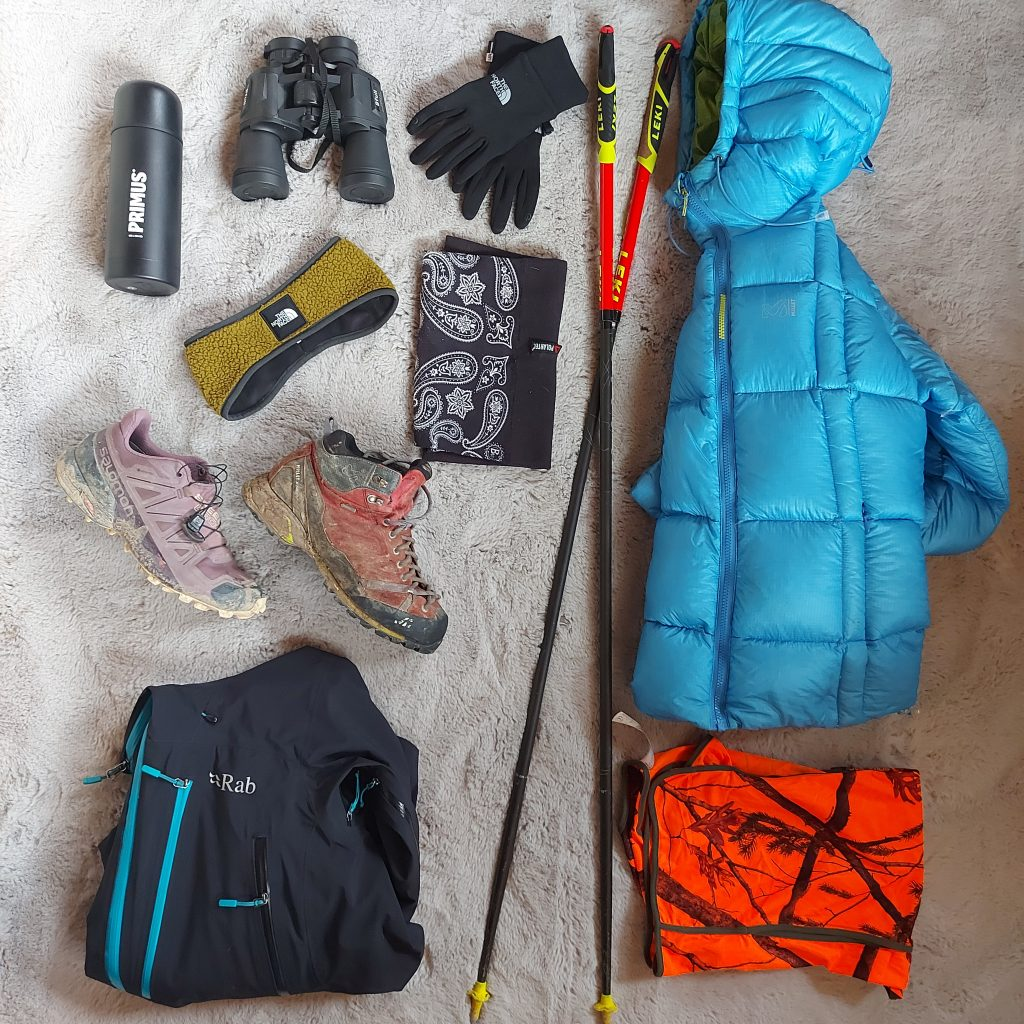 Autumn hiking products. Mountain products.